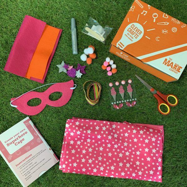 pink superhero diy cape and mask kit