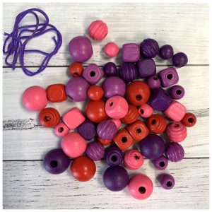 pink purple and red wooden natural craft beads