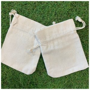 hessian drawstring mini bags