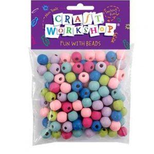 pastel wood beads