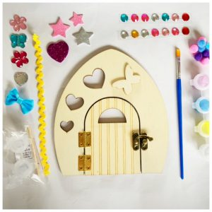 wooden fairy door with paint and embelishments to diy