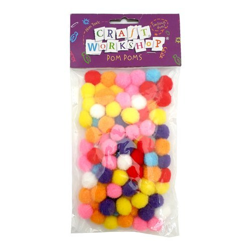 mixed bag of 20mm pom poms in bright colours