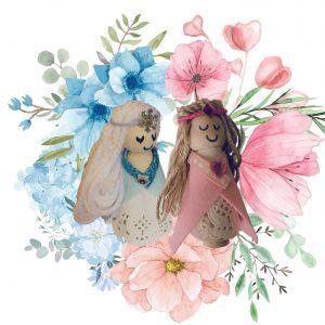 elsa & arna wooden dolls